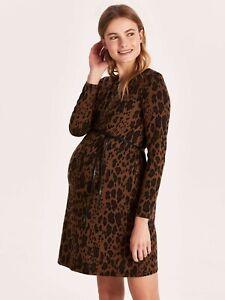 Leopard Print Maternity Jumper Knit Dress with Belt Brown Animal Print Size 18