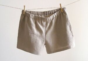 Mens Linen Pajama Home Shorts Soft 100% Linen