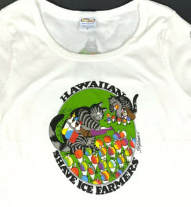 Crazy Shirts B Kliban Cat T-Shirt Hawaiian Shave Ice Farmers White Ladies Small