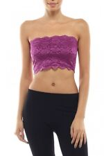 Bozzolo Strapless Stretch Floral Lace Layering Bandeau Cropped Tube Tank Top  L