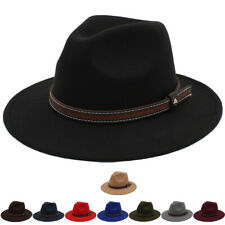 Men Women Kids Children Boys Wool Panama Hats Fedora Sunhat Trilby Cap Wide Brim