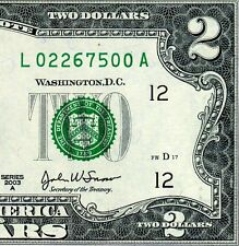 2003-A $2 FRN (( Birthday Note )) February 26, 1975 Uncirculated # L02267500A