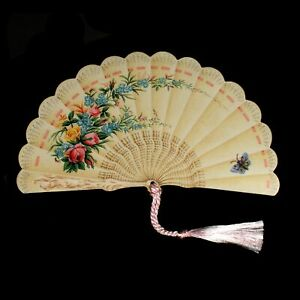 6 Floral Victorian Fans  Die-cut 3D Blank Inside Greeting Cards (EW)