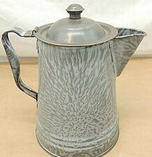 Vintage Coffee Pot, Gray Enamel, 8 Cup
