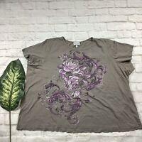 Fashion Bug Womens Size 4X Grey Floral Top T-shirt Short Sleeve