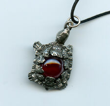 """Pewter Turtle with luster Glass Ball on long Cord 1.5x1"""" 31015L"""