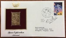 space exploration astronaut 22kt gold plated stamp