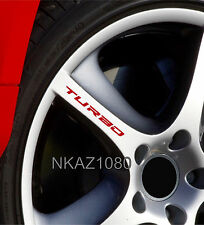 TURBO Decal Sticker Wheels Rims Racing Sport car Sticker Emblem logo RED 4pcs