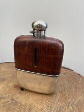 More details for antique edwardian silver plate & leather hip flask spirit glass crocodile 7