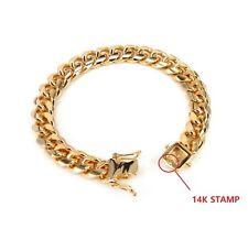10mm MIAMI CUBAN LINK CHAIN BRACELET BOX CLASP LOCK 14K GOLD PLATED