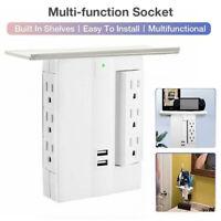 6 Wall Outlet Extender 2 USB 8 Port Surge Protector Sharper Image Socket Shelf