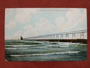 Postcard: The Pier and Light House, Sheboygan, WI