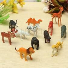 12 Small Animals Model Plastic Zoo Safari Wild Lion Tiger Leopard Hippo Giraffe