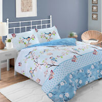 Birds Butterfly Floral 100% Cotton Soft Duvet Cover Set Single Double Super King