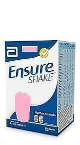 Ensure Shakes Strawberry Powder. 3 boxes of 7. (21 x 57g Sachets) - FREE P&P