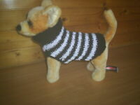 NEW SMALL 10 INCH LONG HAND KNITTED DOG COAT JUMPER BLACK / WHITE CHIHUAHUA TER