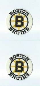 """Lot of 2 Boston Bruins Vintage 1980s 3"""" Round Patch Old Logo (sew or iron on)"""