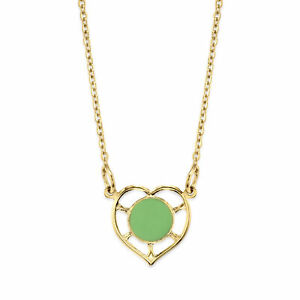 """1928 Jewelry 14K Gold Dipped Heart with Small Round Circle Enamel Necklace 16"""""""