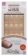 KISS* 28pc Nail Set SALON ACRYLIC No Chip Nails FRENCH+NATURAL New! *YOU CHOOSE*