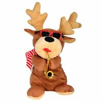 Animated Musical Dancing Plush Reindeer With Saxophone Christmas Xmas Decoration