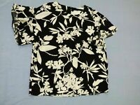 WITCHERY MONOCROME FLORAL BLACK WHITE TOP BLOUSE LOOSE FIT size UK 10 BOXY