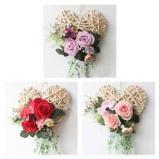 Vintage Rattan Heart Silk Rose Flower Wreath Indoor Outdoor Wedding Decor