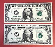 US Banknotes Radar Serial # 0919-9190 $1 Dollars Bill 1974-77A UNC. (#2287)