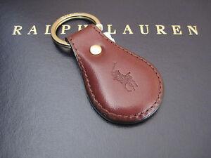 Polo RALPH LAUREN Brown Saddle Leather Pony FOB Key Chain Keychain Keyring