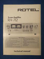 ROTEL RA-712 INTEGRATED AMP TECHNICAL SERVICE MANUAL FACTORY ORIGINAL