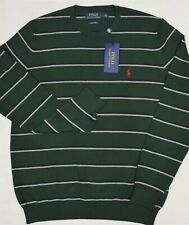 Polo Ralph Lauren Crewneck Sweater Pima Cotton Green Stripe L Large NWT $99