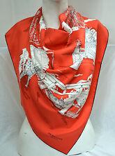 Burberry lujo XXL bufanda PAÑUELO scarf Carré платок seda Silk 75x75 PVP 279 € rojo