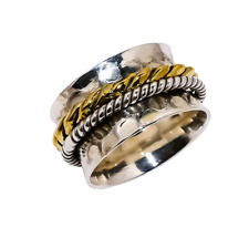 Geniune 925 Sterling Silver Designer Plain Gemstone Two Tone Ring Size N LS-5577