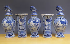 Antique Fine Large Dutch Delft 5-Piece Garniture Landscape + Hunter + Dog