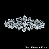 Rhinestone Diamante Silver Motif Wedding Dress Applique Sew On Patch DIY Clothes