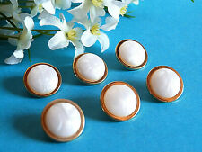 """1000B Chequerboard Buttons """" Pearl """" White Pearlescent Golden Set of 6 Ép. 1970"""