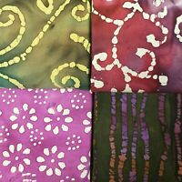 Batik Fat Quarter #B30 | Mask Fabric | Precut Quilting Cotton | Set of 4