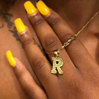 Fashion Letter A-Z Initial Alphabet Pendant Necklace Hip Hop Gold Chain Unisex