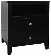 Brooklyn Black Bedside Table With 2 Drawers and Shelf Metal Runners...