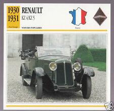 1930-1931 Renault KZ 4/ KZ 5 Car Photo Spec Sheet Info Stat French Atlas Card