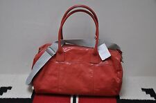 Brunello Cucinelli Red Leather Small Duffle Handbag Bag With Shoulder Strap