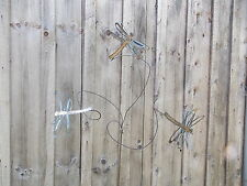 METAL YARD ART GARDEN STAKE SCULPTURE W/ 3 DRAGONFLIES