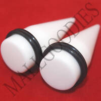 "0599 Acrylic Solid White Stretchers Tapers Expanders 3/4"" Inch 20mm 2pcs Plugs"