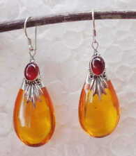 Carnelian & Amber (syn) Solid Silver, 925 Bali Handcrafted Earring 39287