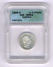 AUSTRIA  1858-A  1/4 FLORIN SILVER COIN, UNCIRCULATED, ICG CERTIFIED MS-62