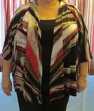 Maggie Barnes Plus Soft Open Front Jacket~3X 26/28~Nwt~Blk/Pink Print~Free Ship