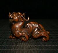 Collect feng shui Japanese boxwood carved pi xiu dragon statue figurines loong