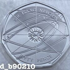 2017 Fifty Pence 50p Sir Isaac Newton  Genius Coin New Sealed Coin Hunt BU
