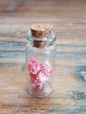 5 Tiny Handmade Pink Origami Lucky Stars in Jar Cork Lid Cute Fun Kawaii Gift