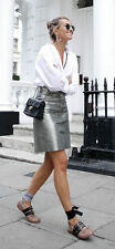 Zara AW16 Genuine Leather Metallic Pewter Silver Button Skirt Medium Bloggers