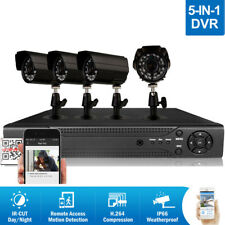 4CH HDMI CCTV 5in1 Indoor/Outdoor DVR Kit IR Night Vision Camera Security System
